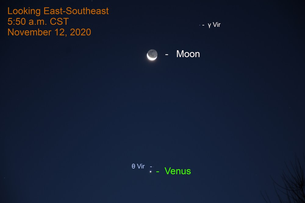 Venus and crescent Moon, November 12, 2020