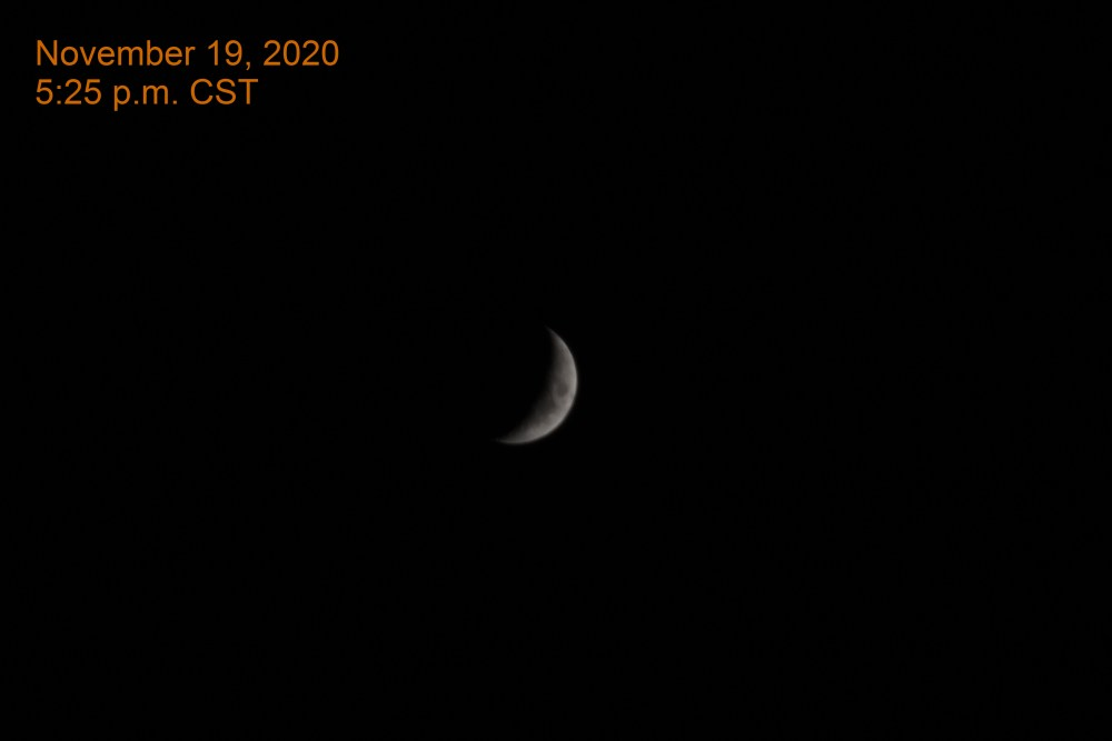 The crescent moon, November 19, 2020