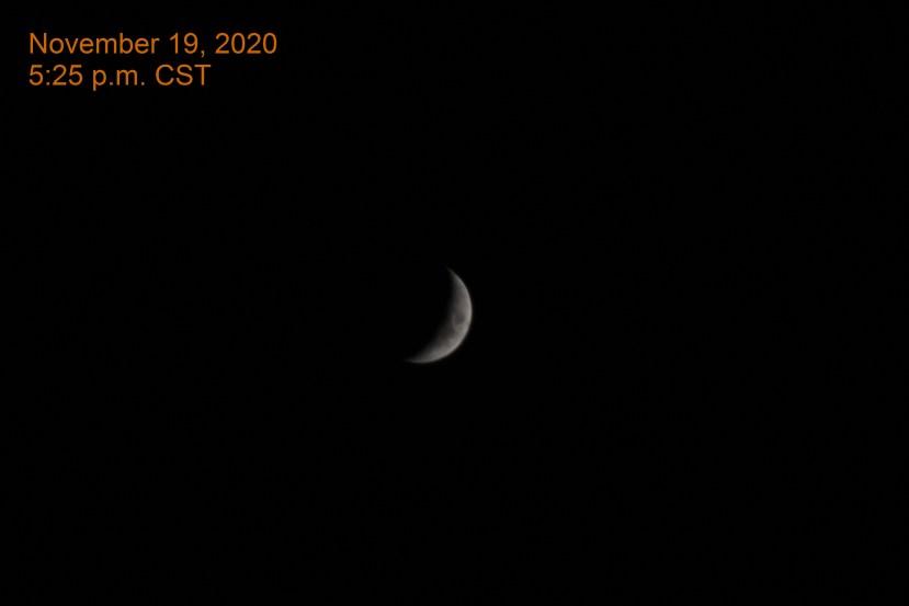 The crescent moon, November 19, 2020