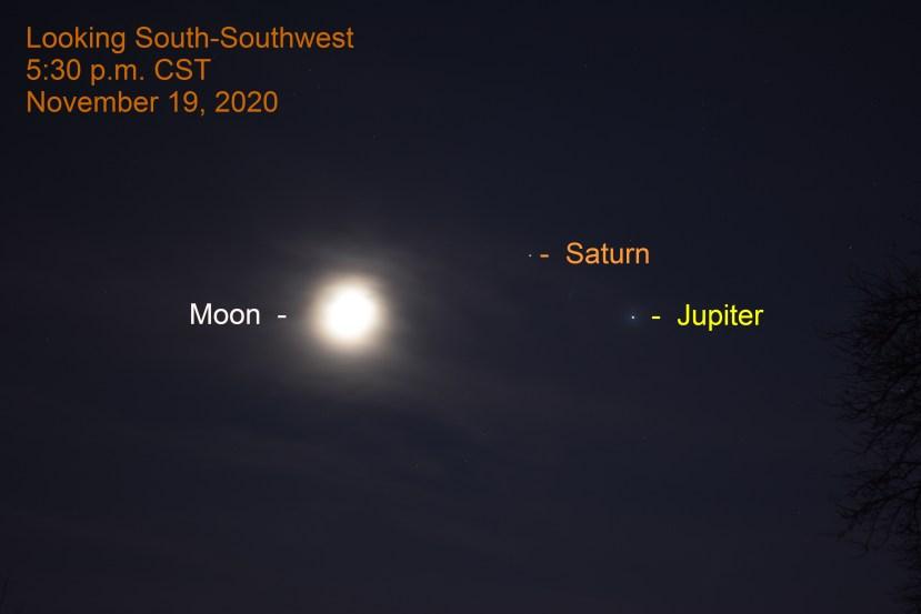 Juiter, Saturn, Moon, November 19, 2020