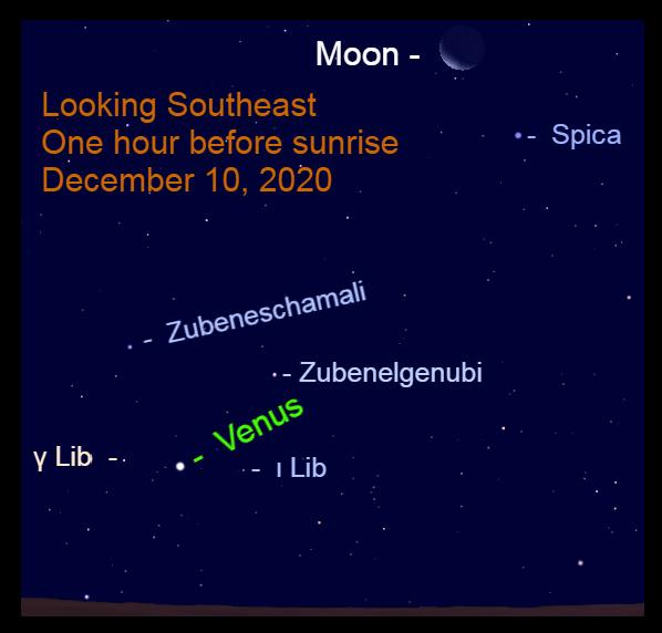 Moon near Spica, Venus in Libra, December 10, 2020
