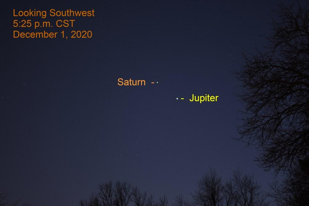 Jupiter and Saturn, December 1, 2020
