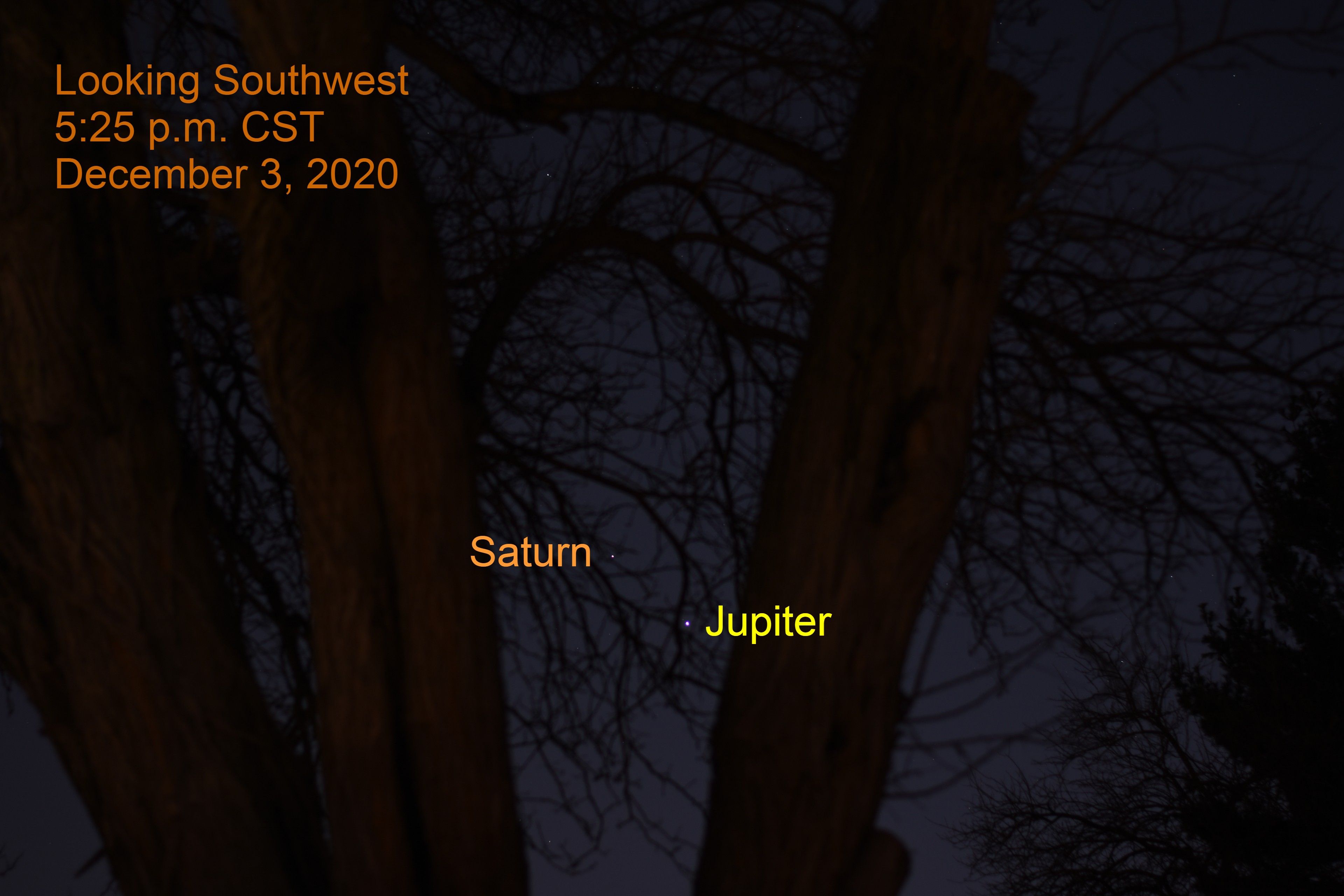 Jupiter and Saturn, December 3, 2020. Great Conjunction December 21, 2020. Close planet alignment.