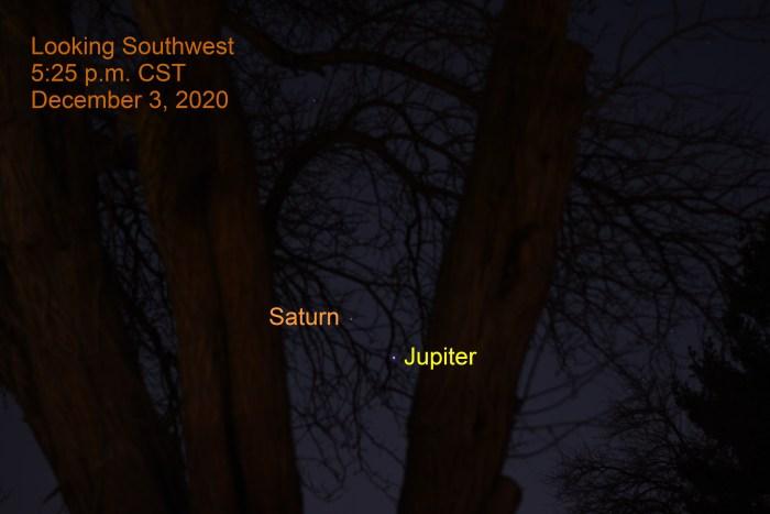 Jupiter and Saturn, December 3, 2020. Great Conjunction December 21, 2020. Close planet alignment.
