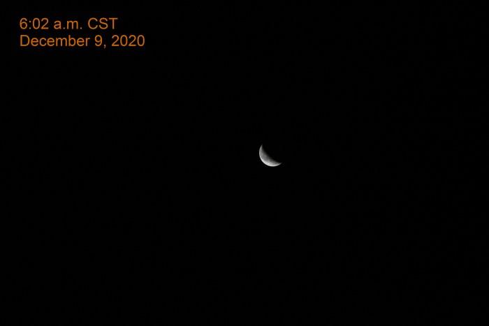 Crescent moon, December 9, 2020