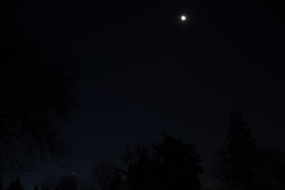 Moon in the morning sky above Spica and Venus. December 9, 2020