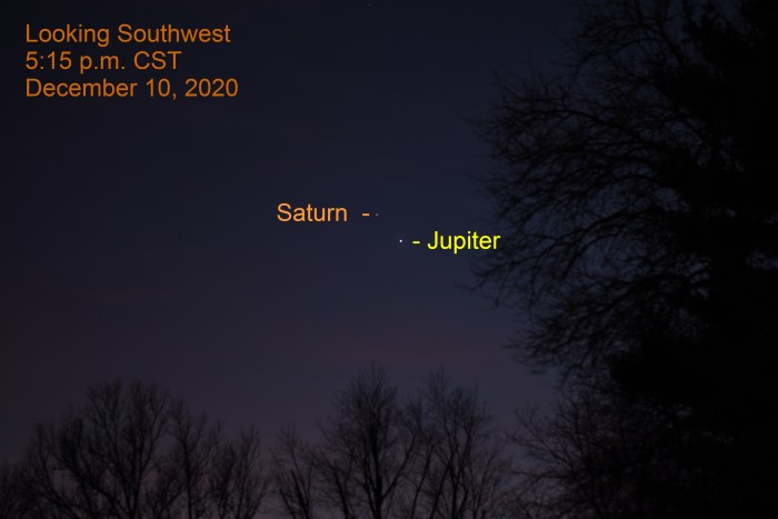 Jupiter and Saturn, December 10, 2020. Great Conjunction of Jupiter and Saturn. Planetary alignment.