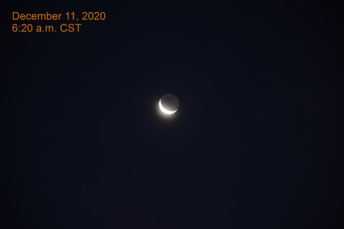 Crescent moon, December 11, 2020