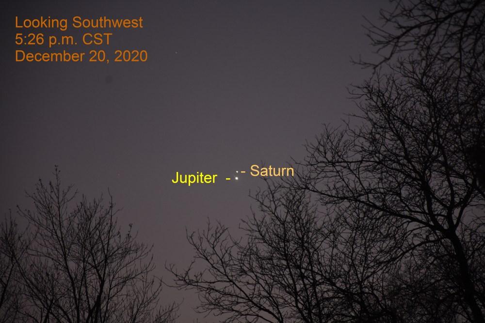 Jupiter and Saturn, December 20, 2020