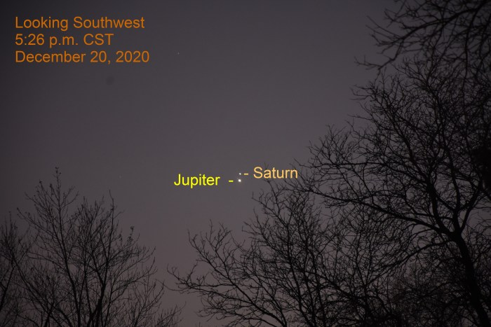 Jupiter and Saturn, December 20, 2020