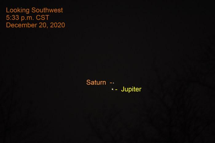 Jupiter and Saturn, December 20, 2020.