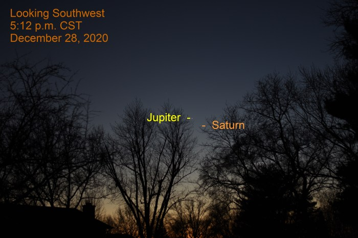 Jupiter and Saturn, December 28, 2020