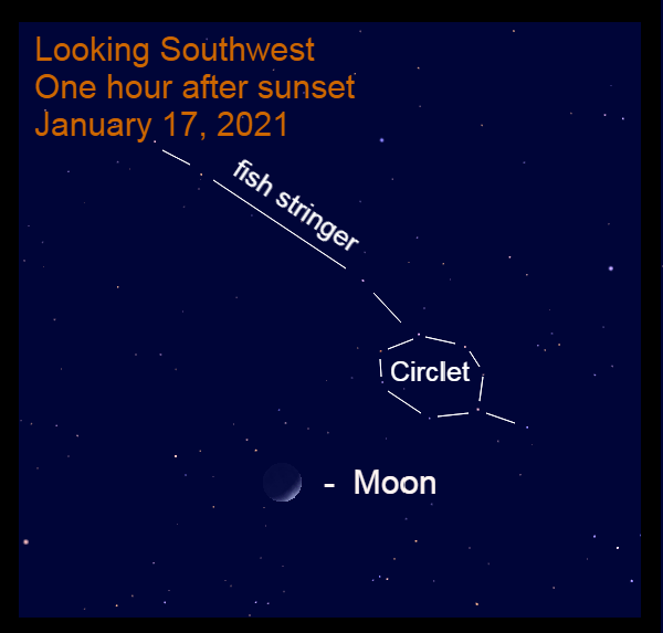 The crescent moon near the western fish of Pisces, January 17, 2021.