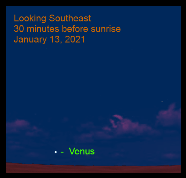Venus, January 13, 2021. The Morning Star Venus is low in the southeast before sunrise.