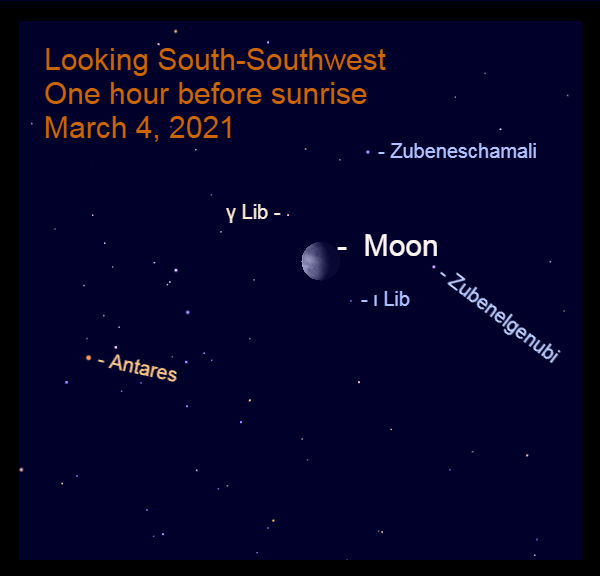 2021, March 4: During morning twilight, the bright moon is visible in Libra.