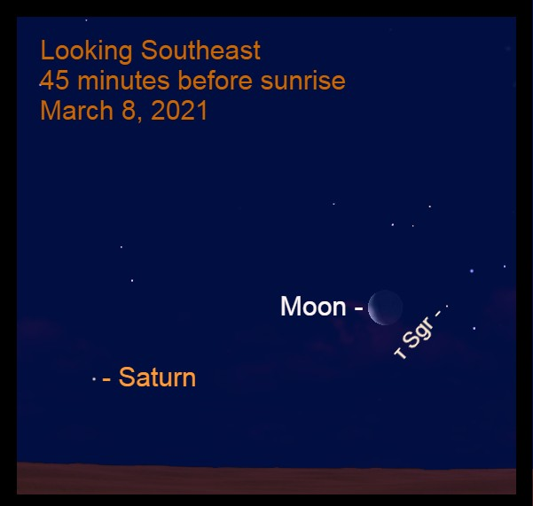 2021, March 8: Forty-five minutes before sunrise, the crescent moon is about 20° to the upper right of Saturn. The moon is 4.1° to the left of Tau Sagittarii (τ Sgr).