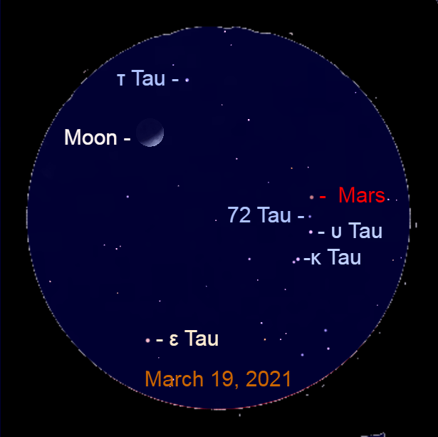 2021, March 19: Through a binocular Mars is a line with Upsilon Tauri (υ Tau) and 72 Tauri (72 Tau). The Red Planet is moving toward Tau Tauri (τ Tau).