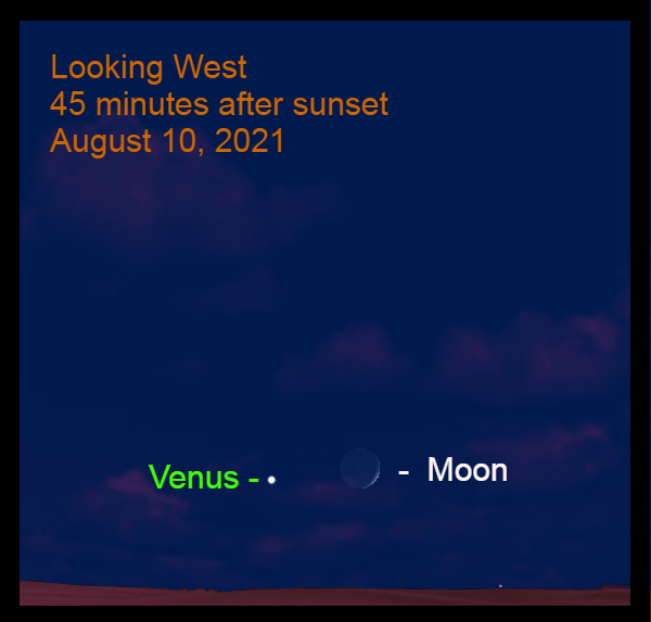 2021, August 10: The moon the moon is 5.7° to the right of Venus.