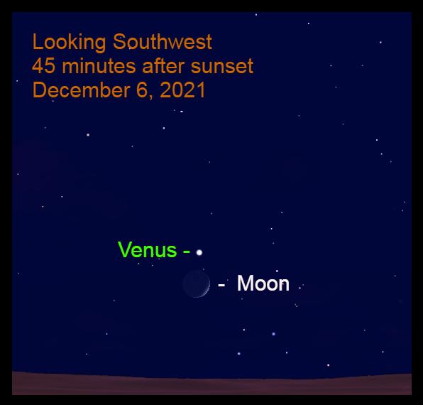 2021, December 6: Brilliant Venus is 3.2° above the crescent moon.