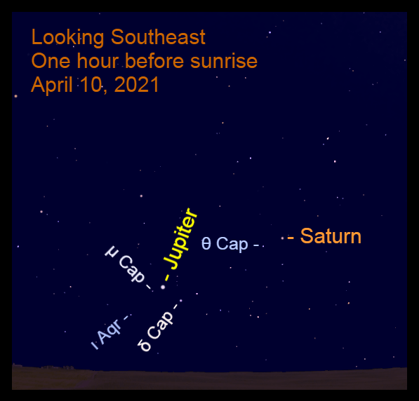 2021, April 10: Jupiter and Saturn are in the southeast before sunrise. Use a binocular to see the dimmer stars in the background.