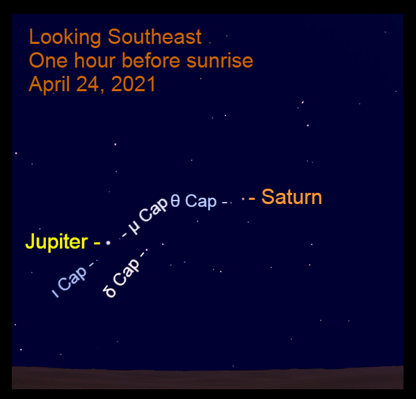 2021, April 24: Bright morning planets, Jupiter and Saturn, are in the southeast before sunrise.