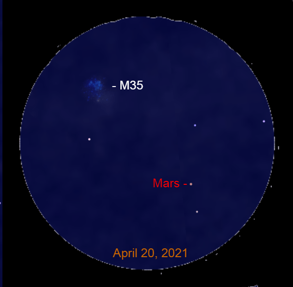 2021, April 20: Through a binocular Mars is to the lower right of the star cluster M35.