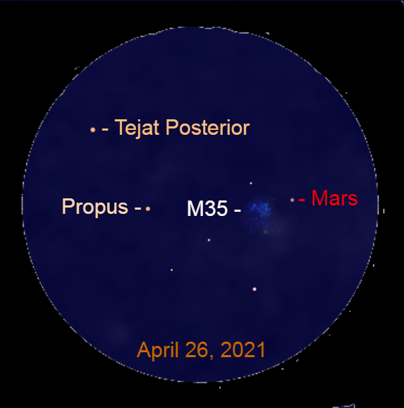 2021, April 26: Through a binocular, Mars is closest to the star cluster M35 this evening.
