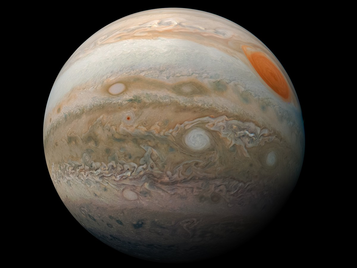 This striking view of Jupiter's Great Red Spot and turbulent southern hemisphere was captured by NASA's Juno spacecraft as it performed a close pass of the gas giant planet.