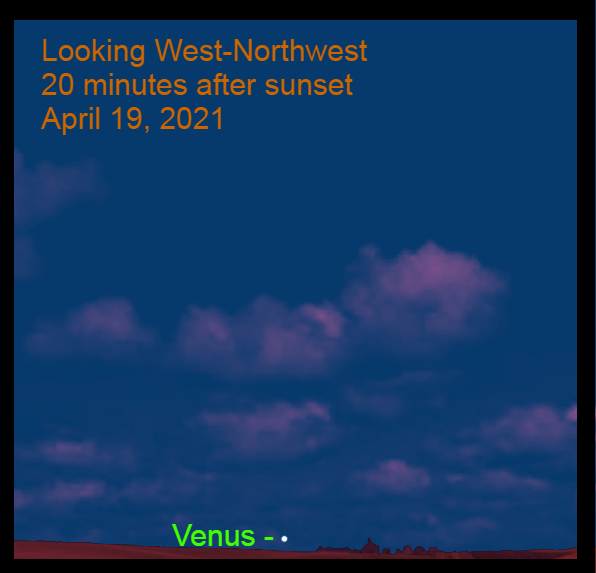 2021, April 19: Venus makes its first evening appearance of the apparition, 20 minutes after sunset.