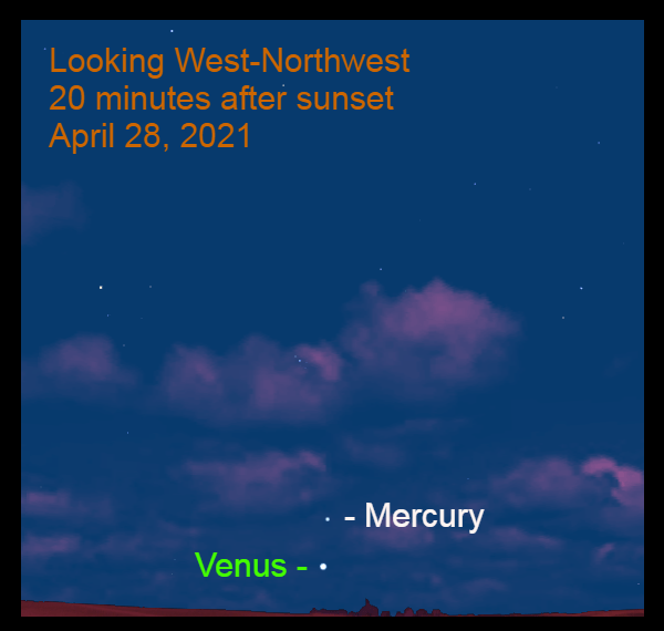 2021, April 28: Evening Star Venus and Mercury are low in the west-northwest during morning twilight.