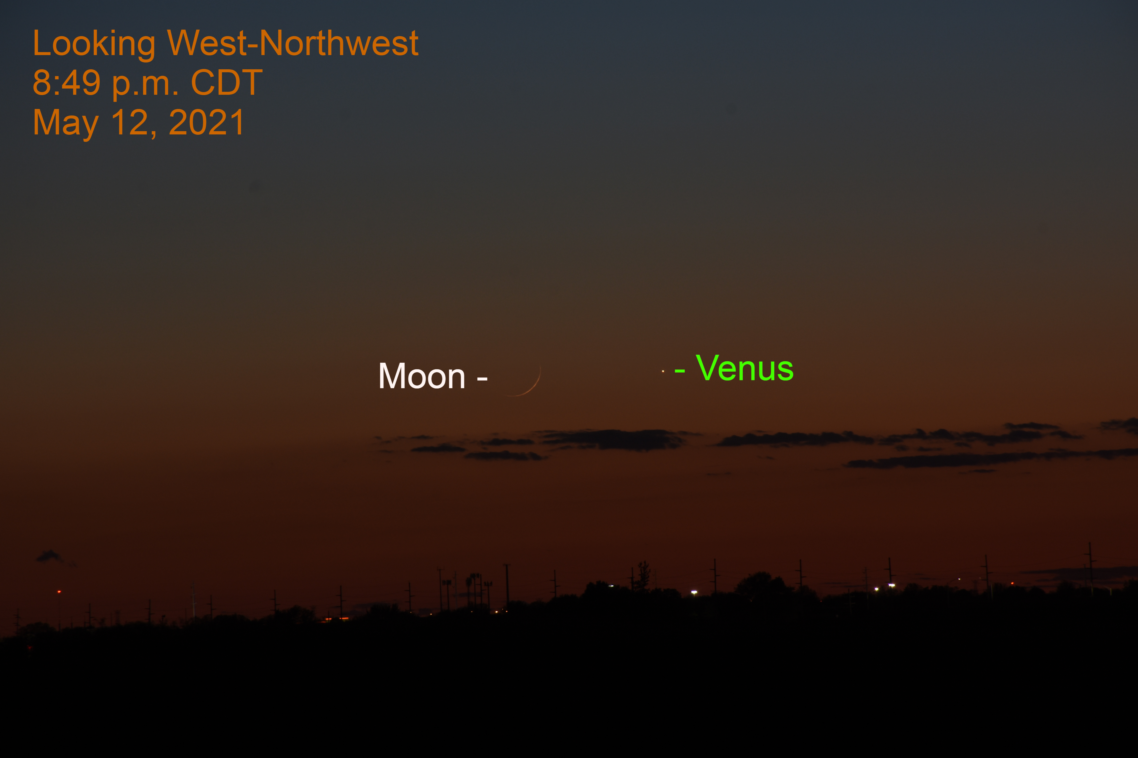 2021, May 12: The moon is 1.2 degrees to the left of brilliant Venus.