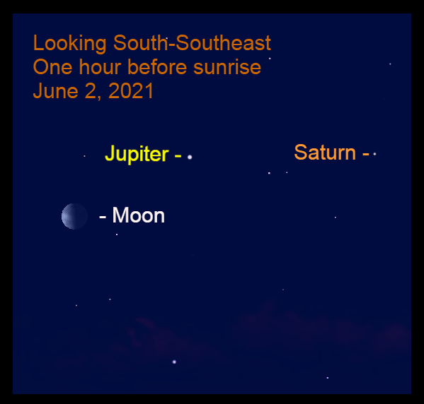 2021, June 2: This morning, the moon is 12.6° to the lower left of Jupiter. The Jupiter - Saturn gap is 18.2°.