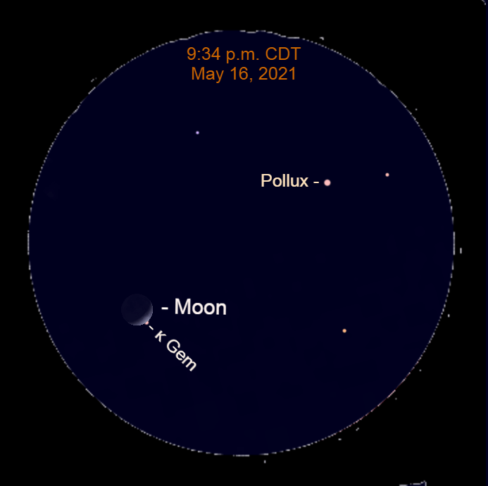 2021, May 16: The star Kappa Geminorum emerges from behind the lunar crescent at 9:34 p.m. CDT as observed from Chicago in this binocular view.