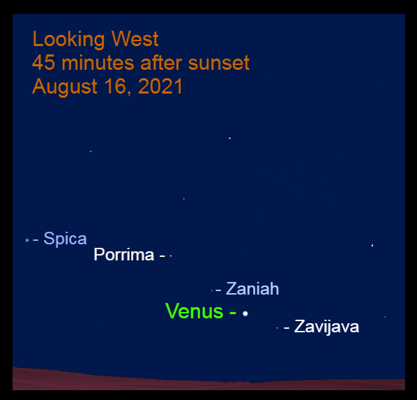 2021, August 16: About 45 minutes after sunset, Venus is low in the west among the stars of Virgo.