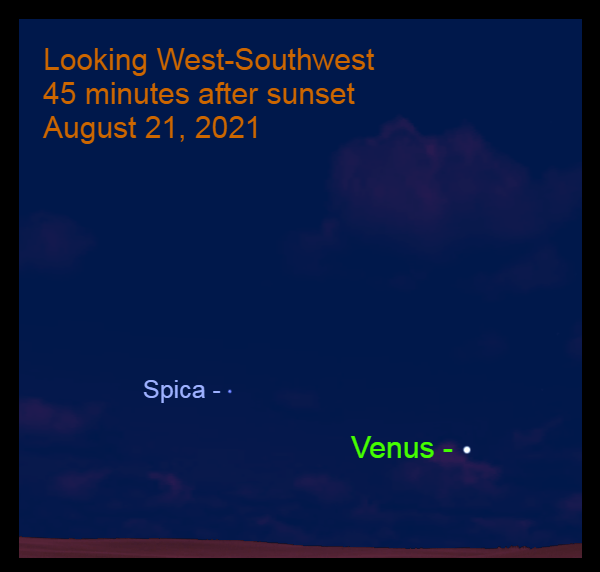 2021, August 21: Venus steps toward Spica in the west after sunset.
