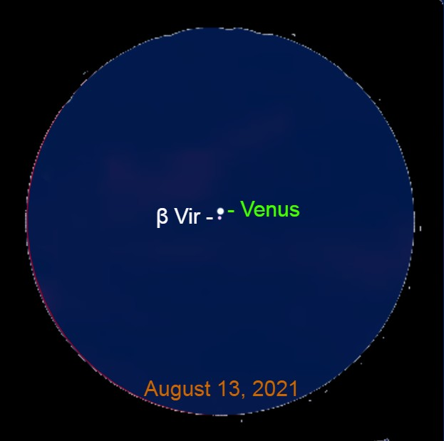 2021, August 13: Through a binocular, Venus is 0.1° above Zavijava.