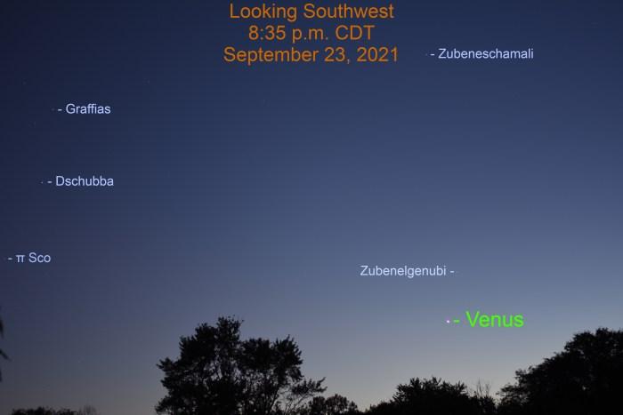 2021, September 23: Venus passes 2.0° to the lower left of Zubenelgenubi.