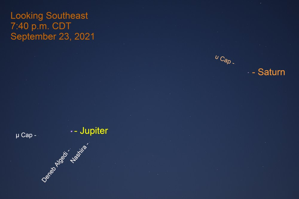 2021, September 23: After sunset, Jupiter and Saturn are in the southeastern sky. The gap between them is 16.1°.