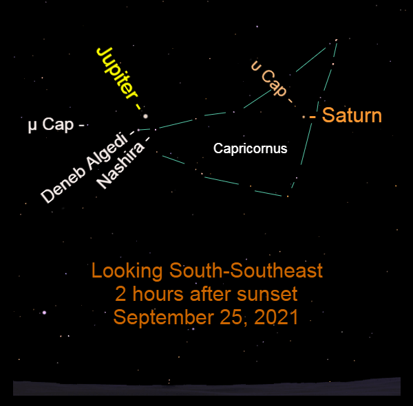 2021, September 25: Bright Jupiter and Saturn in the southeast after sunset, retrograding in Capricornus.