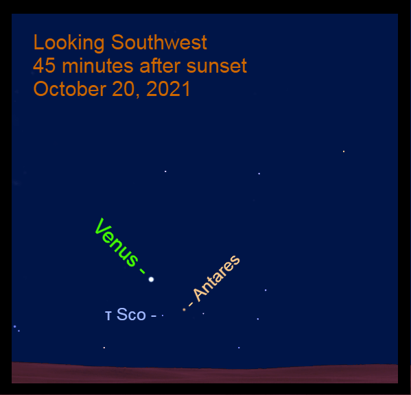 2021, October 20: After sundown, Venus is 4.6° to the upper left of Antares and 3.9° to the upper left of Tau Scorpii.
