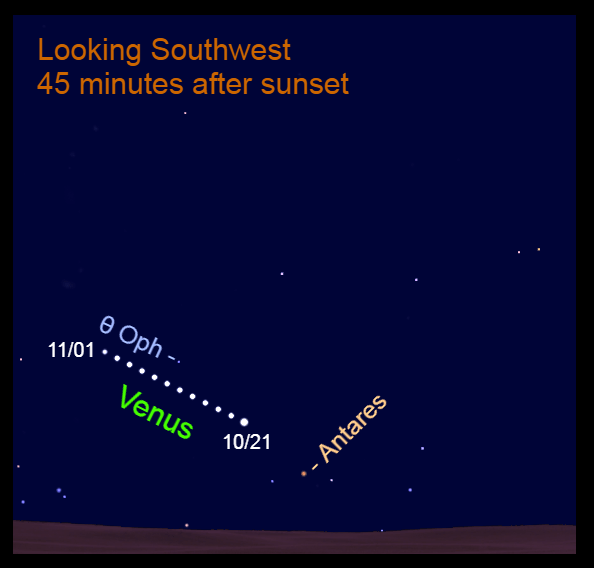 2021, October 21 – November 1: Venus moves eastward through Ophiuchus. Nightly observations show its eastward direction compared to Theta Ophiuchi (θ Oph).