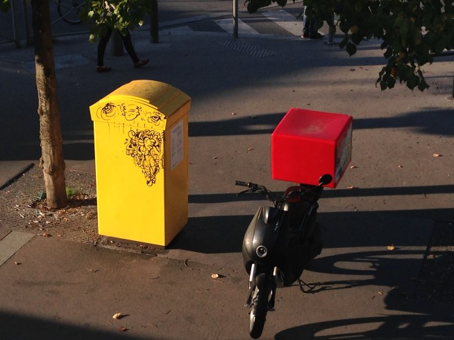 The mailbox outside my window has gotten a tattoo.