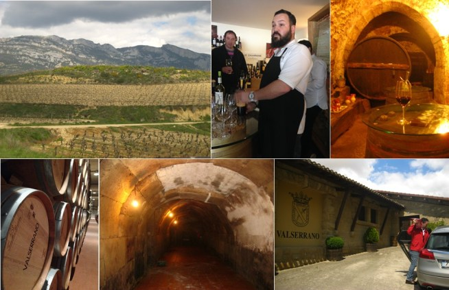 Top: View of La Rioja, inaugural Coravin sampling at the Hotel Viura in Villabuena, and underground tasting in La Guardia. Bottom: Barrels at the Bodegas de la Marquesa - Valserrano, which age in underground tunnels, and readying a package to be hand-delivered outside the main bodega in Villabuena.
