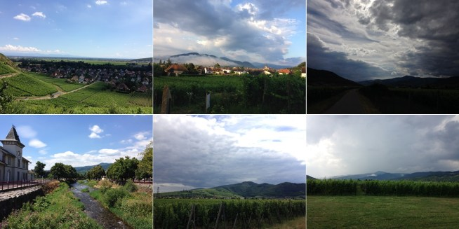 Varying degrees of cloud cover, ranging from clear skies over Turckheim (acceptable), morning fog over Turckheim and Winztenheim (acceptable), to ominous looking rainclouds.