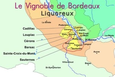 Sweet wines of Bordeaux. The Sauternes appellation is the area inside the red blob. But you can also find some very good sweet wines outside the appellation: in Cadillac, Loupiac, Cérons and Ste -Croix