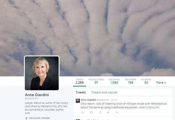 Twitter Profile of Anne Giardini