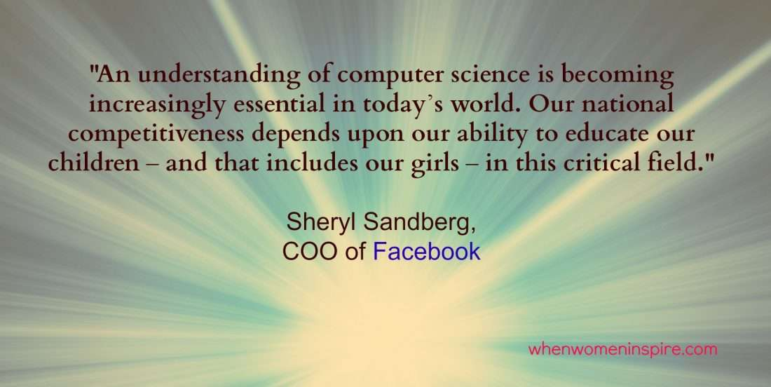Coding quote from female leader Sheryl Sandberg