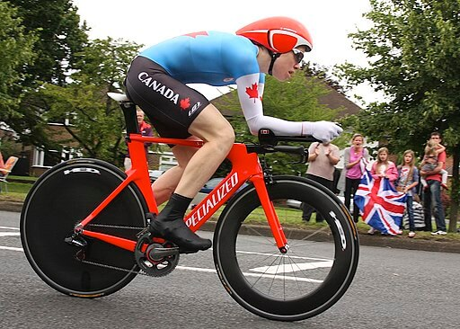 Mental health advocate Clara Hughes cycling in the 2012 Summer Olympics