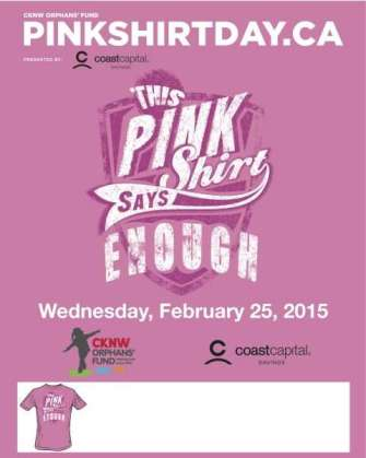 Anti-bullying campaign poster for Pink Shirt Day