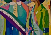 Colorful Canadian Mural about Votes for Women